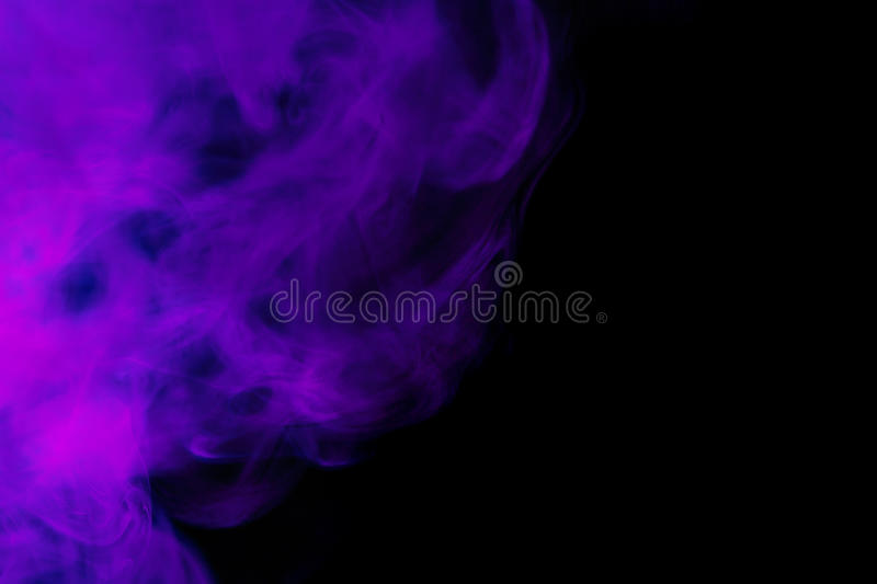 Abstract purple smoke hookah on a black background. royalty free stock photos
