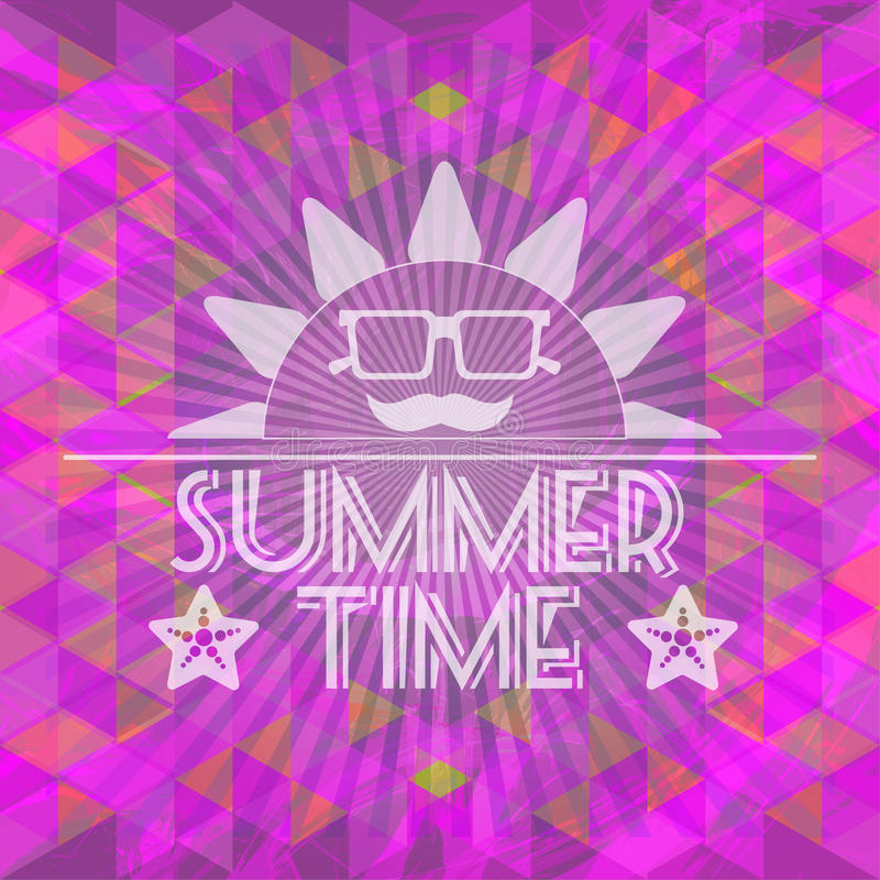 Abstract purple summer time infographic, a big sun with glasses and smile. Digital vector image royalty free illustration
