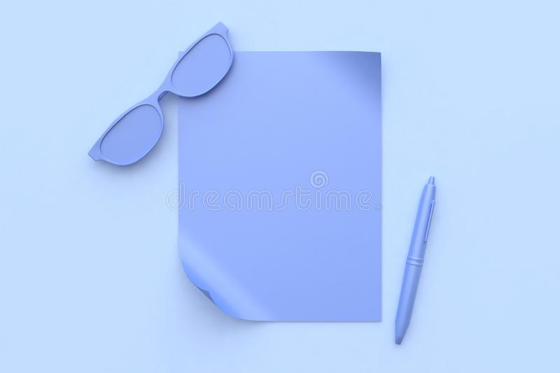 Abstract purple-violet scene all object blank paper glasses pen 3d render. Ing vector illustration