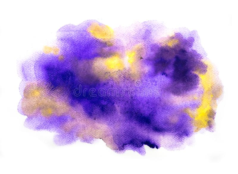 Abstract purple and yellow watercolor on white background, abstract watercolor background.  vector illustration