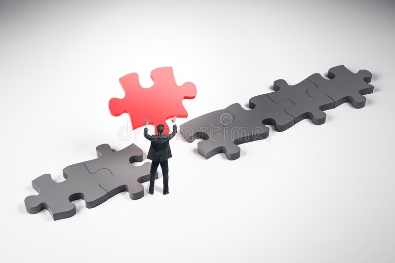 Metaphor and choice concept. Abstract puzzle background. Businessman holding jigsaw piece. Metaphor and choice concept. 3D Rendering royalty free stock image
