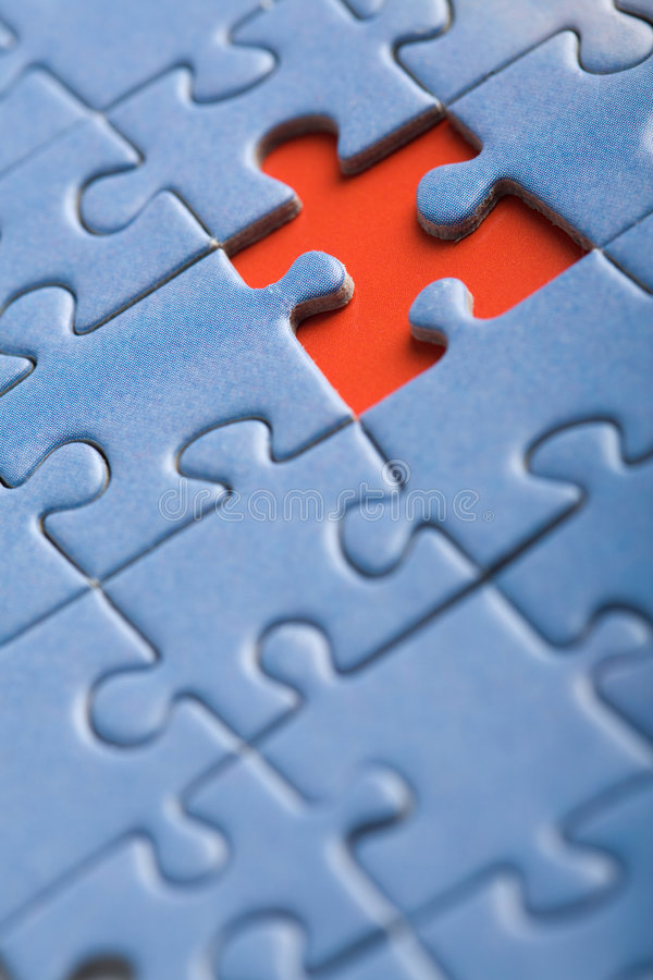 Abstract puzzle background with one missing piece royalty free stock image