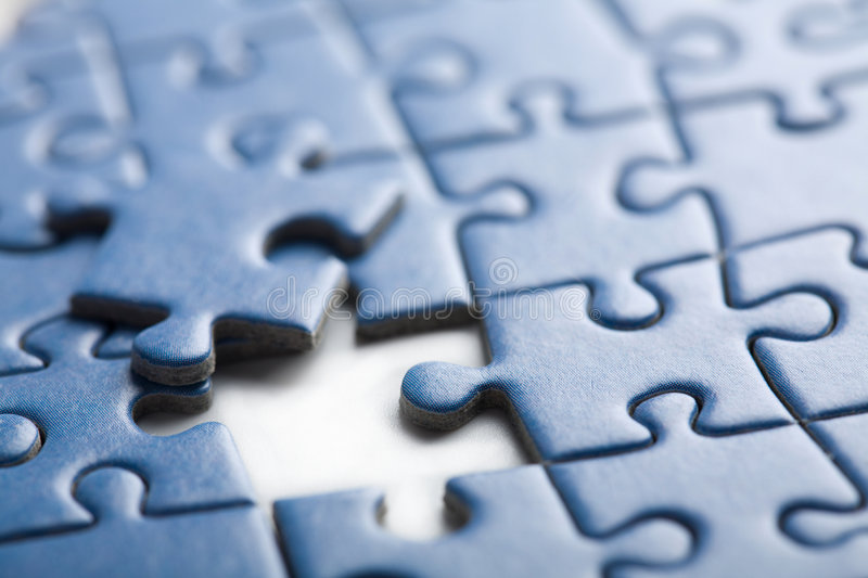 Abstract puzzle background with one piece missing stock images