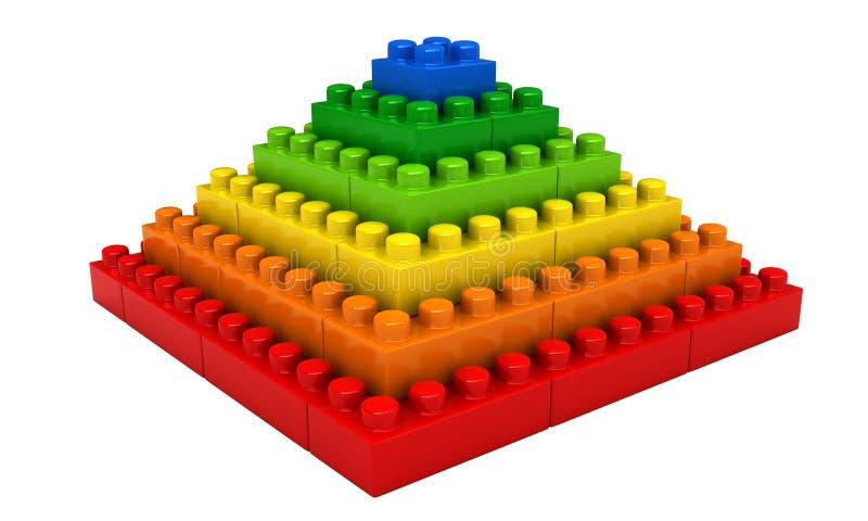 Abstract Pyramid From Plastic Building Blocks Stock Illustration