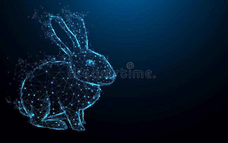 Abstract Rabbit form lines and triangles, point connecting network on blue background. Illustration vector royalty free illustration