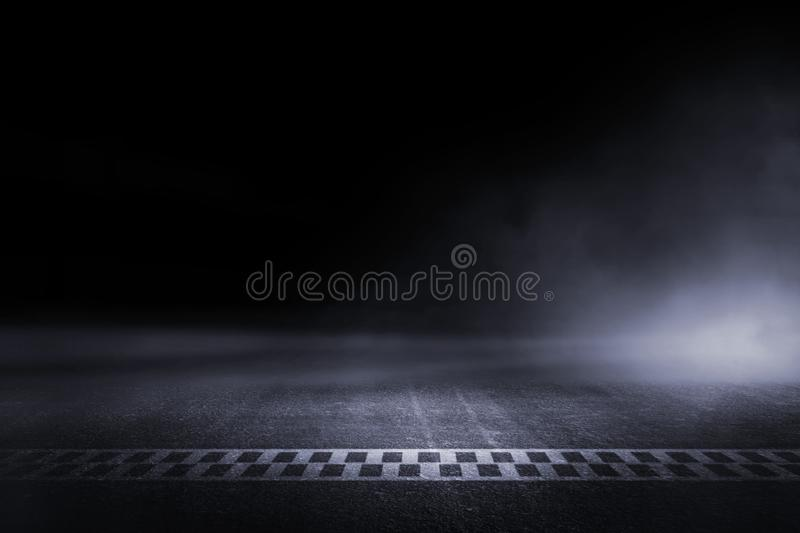 Abstract Race track finish line racing. On light night stock photo