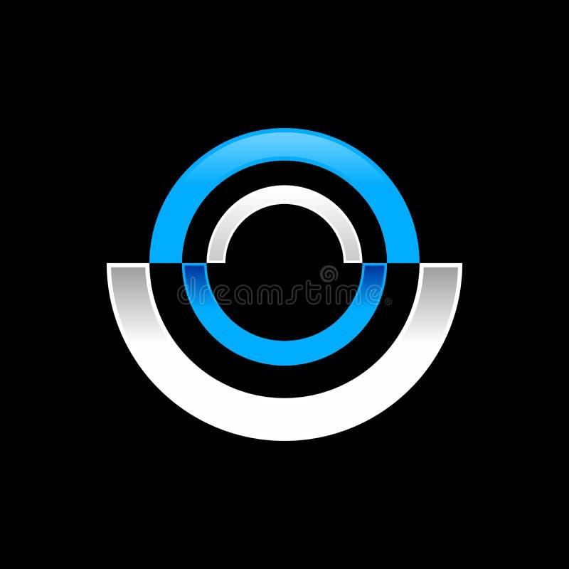 Abstract Radial Half Disc Blue Symbol Logo Design royalty free illustration