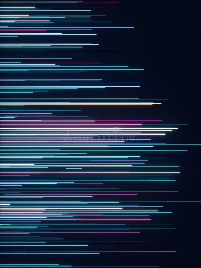 Abstract radial lines geometric background. Data flow. Optical fiber. Explosion star. Motion effect. 3d rendering - illustration vector illustration