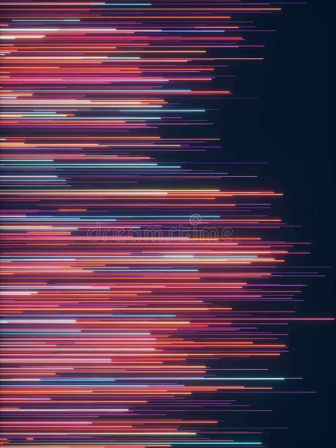 Abstract radial lines geometric background. Data flow. Optical fiber. Explosion star. Motion effect. 3d rendering - illustration royalty free illustration