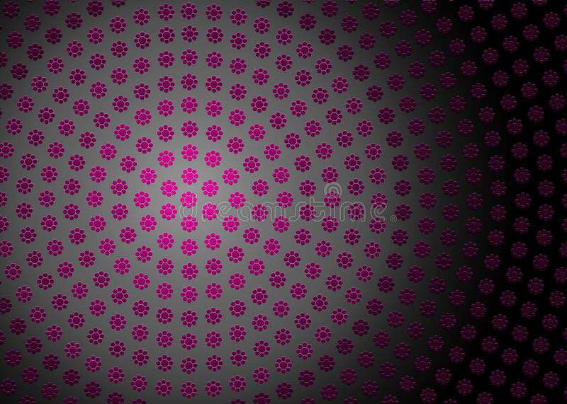 Abstract Radial Pink Geometric Floral Texture in Dark Background. Abstract image of radial pink geometric flowers texture in dark grey background for website stock image