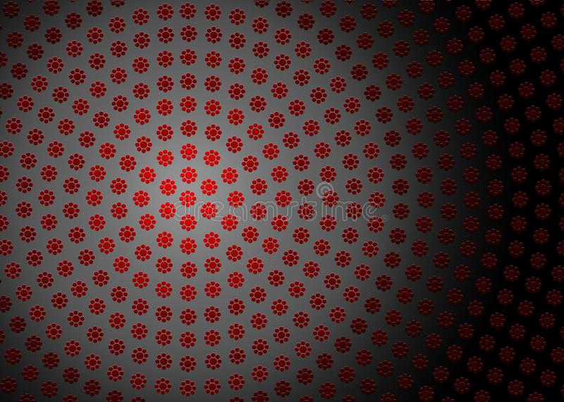 Abstract Radial Red Geometric Floral Texture in Dark Background. Abstract image of radial red geometric flowers texture in dark grey background for website royalty free stock image