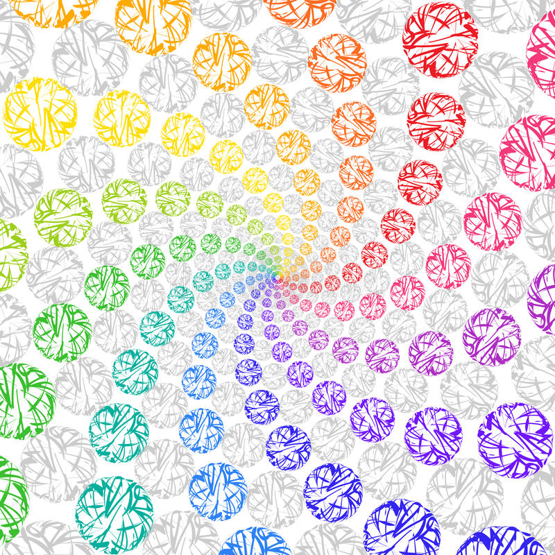Abstract Rainbow Background Rotating Spiral of Spheres. royalty free illustration