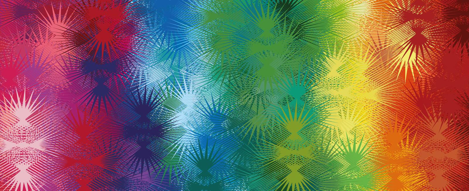 Abstract rainbow background with thorns. For your creativity vector illustration