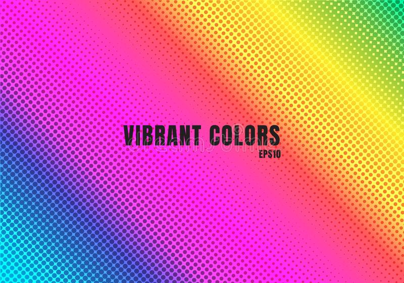 Abstract rainbow color background with halftone texture. Colorful smooth gradient dots pattern. Vibrant colour retro 80`s style vector illustration