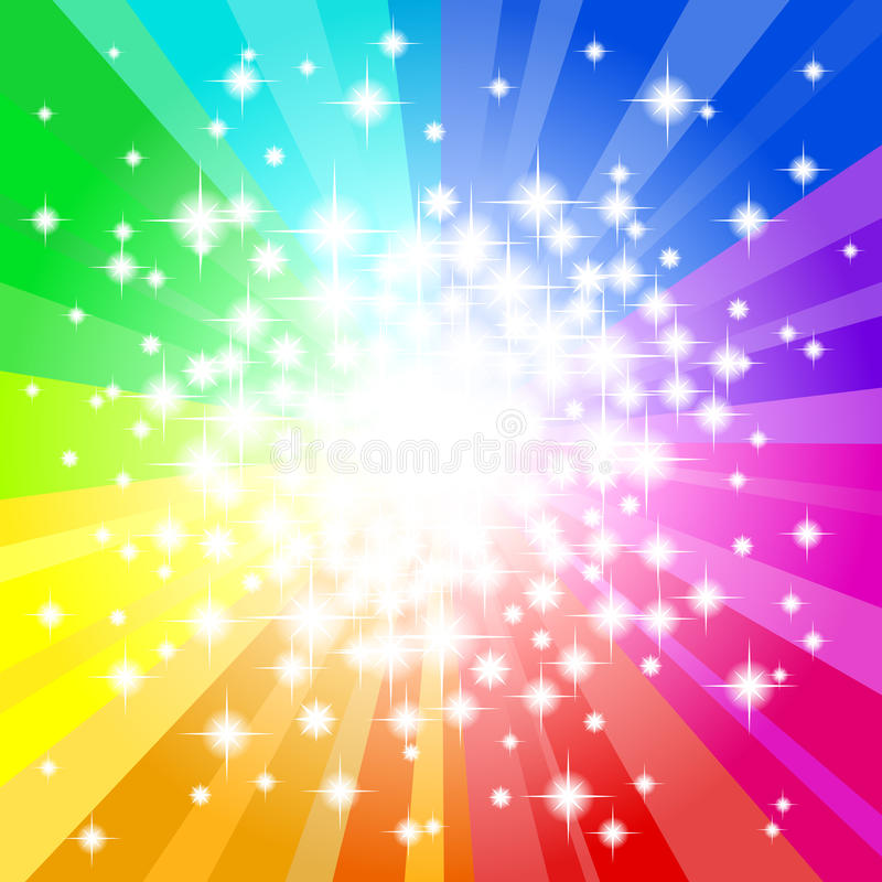Abstract rainbow colored star background stock illustration