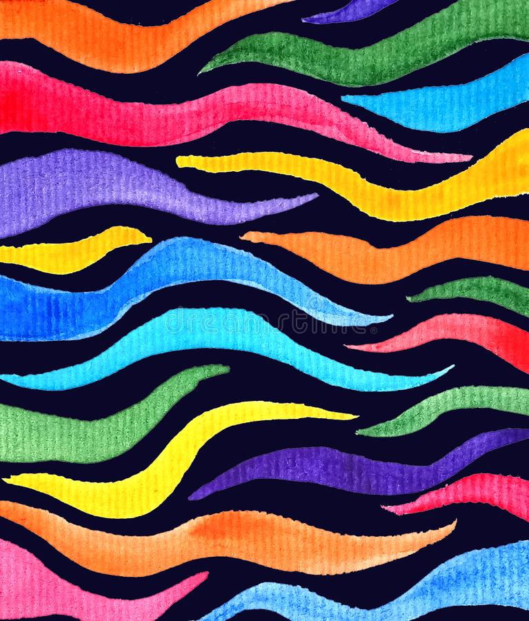 Abstract rainbow colored tentacles in dark background in watercolor style, textured. Abstract rainbow colored tentacles in dark black background in watercolor stock illustration