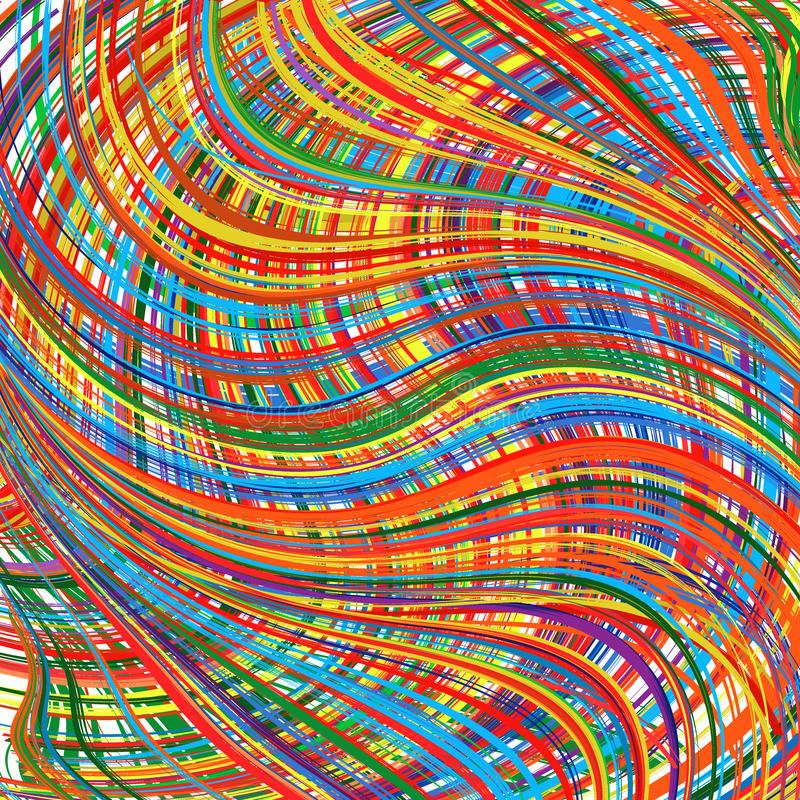 Abstract rainbow curved stripes color background stock illustration