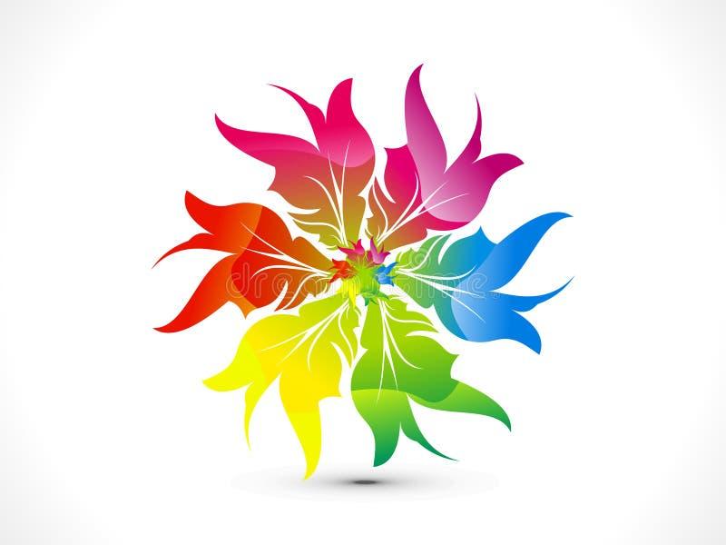 Abstract rainbow floral circle stock illustration