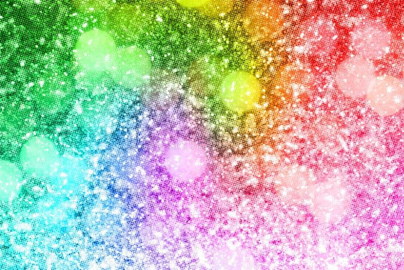 Abstract rainbow gold glitter background stock illustration