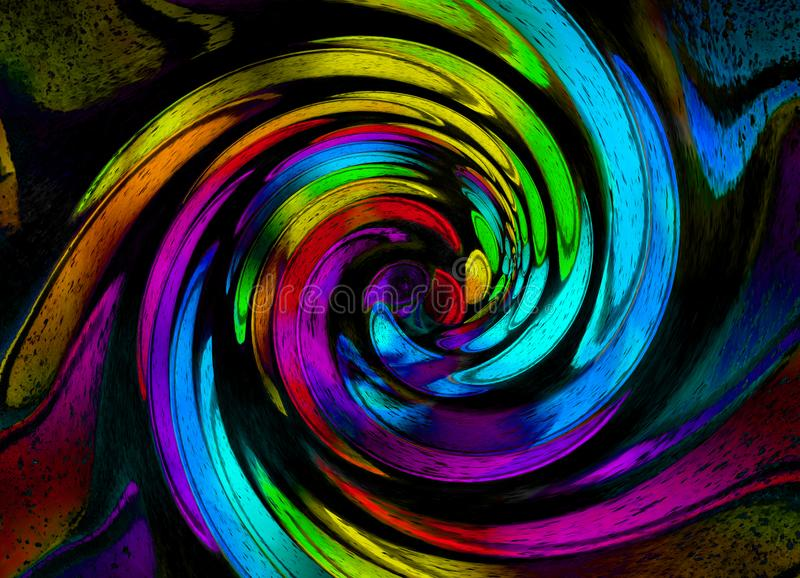 Abstract rainbow grunge spiral background pattern. Colorful grunge spiral. Grunge fractal pattern of red orange blue green red col stock illustration