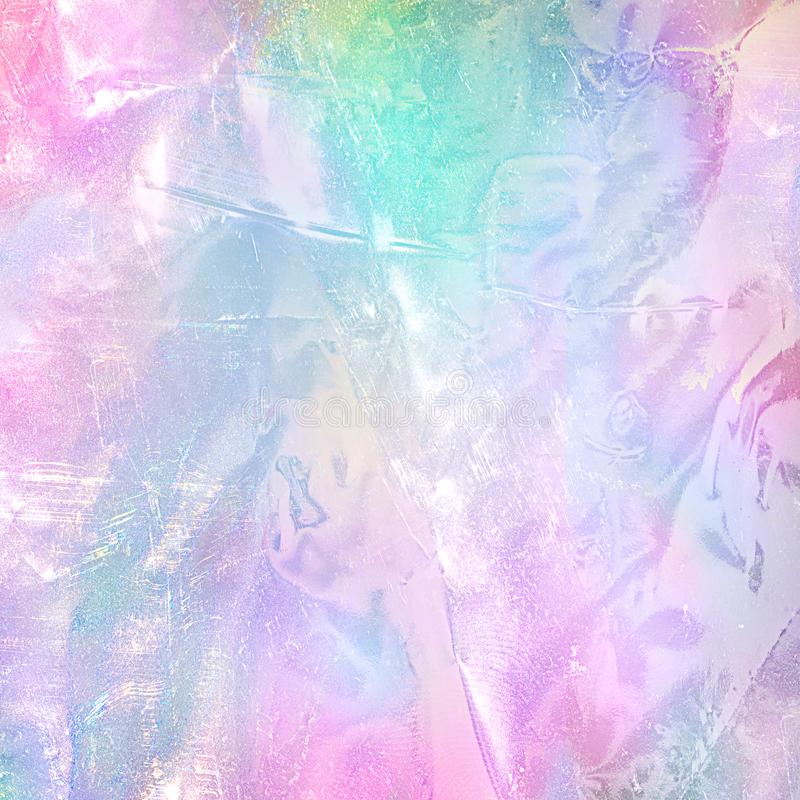 Abstract rainbow holographic foil texture. Trendy magic background with pastel colours royalty free stock image