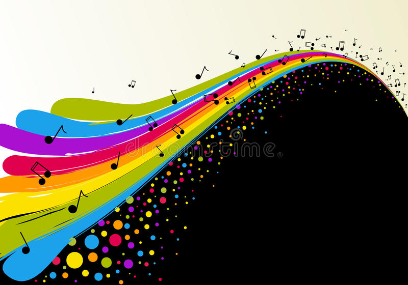 Abstract Rainbow And Music Stock Vector. Illustration Of