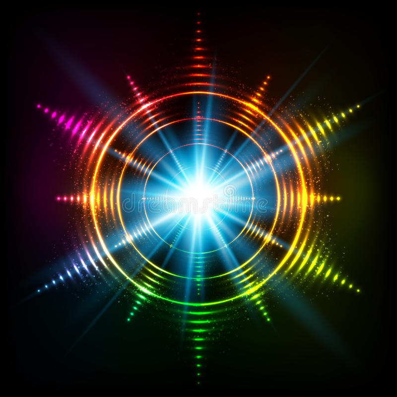 Abstract rainbow neon spirals vector cosmic star stock illustration