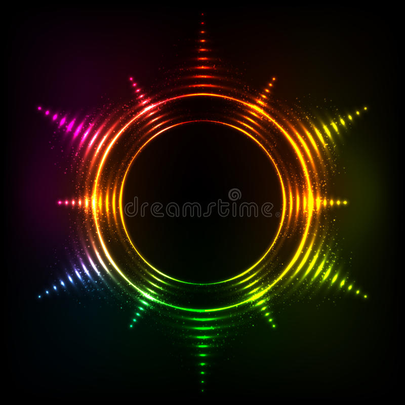 Abstract rainbow neon spirals vector cosmic star royalty free illustration