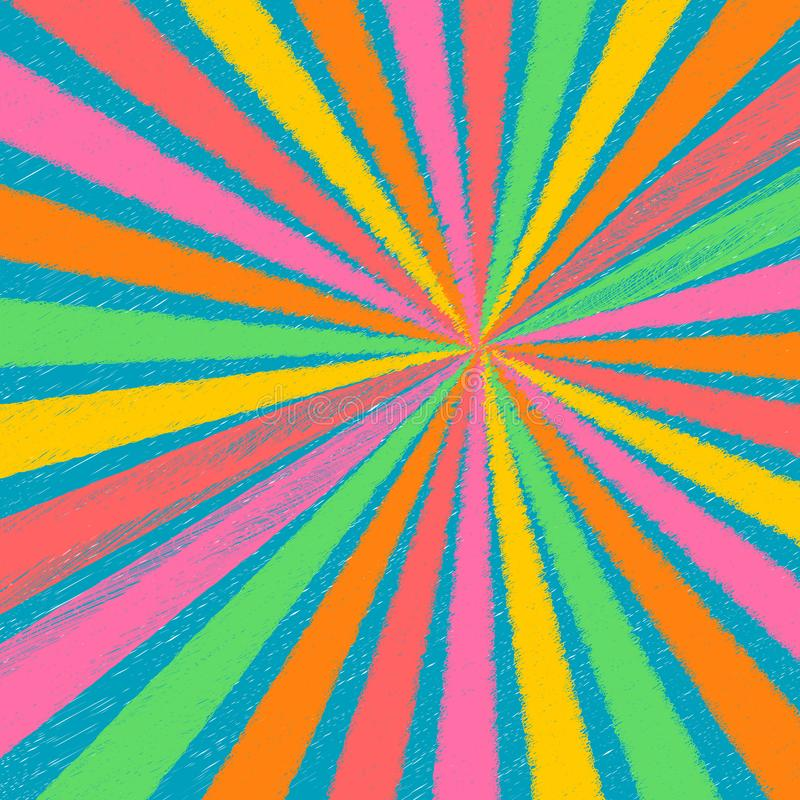 Abstract rainbow pastel color chalk texture rays background burst sunburst rays in yellow, pink, red, green and orange stock illustration
