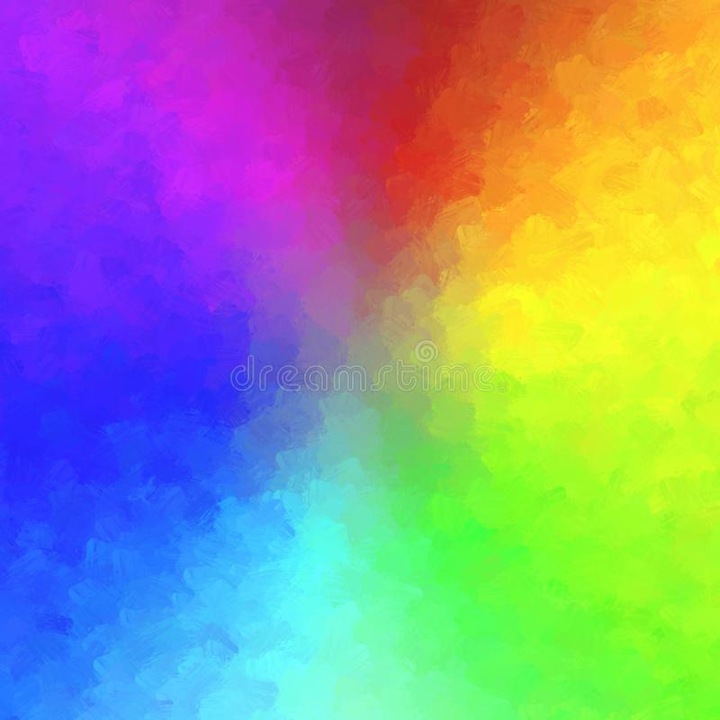 Abstract rainbow radial background with brush effect royalty free illustration