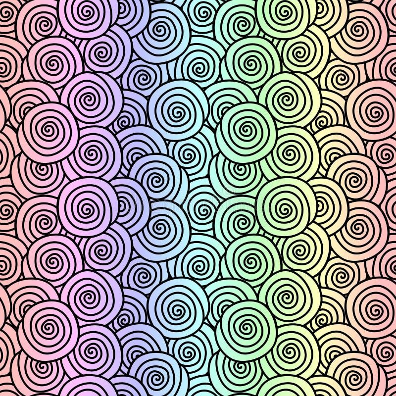 Rainbow snail shells seamless pattern royalty free illustration