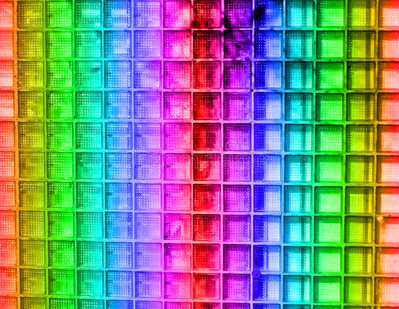 Abstract rainbow square glass wall, disco details, royalty free stock photography