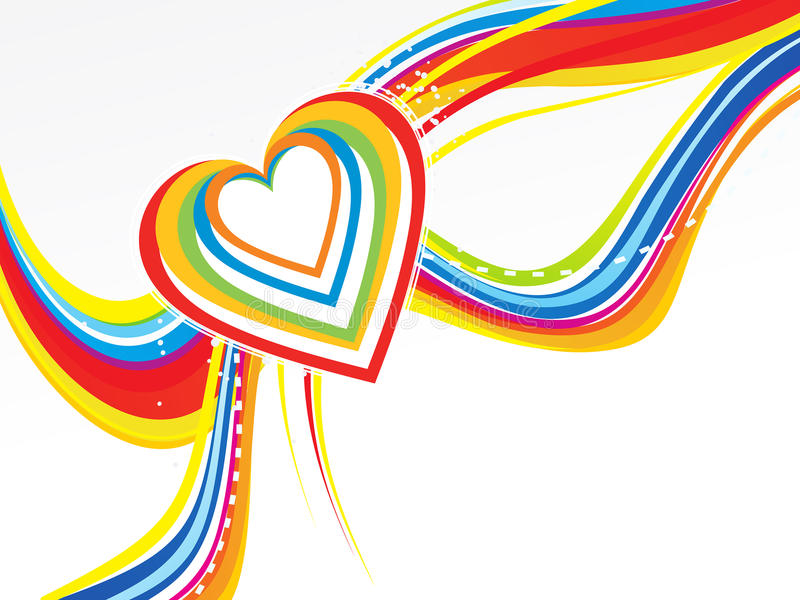 Abstract rainbow wave with heart. Vector illustration stock illustration