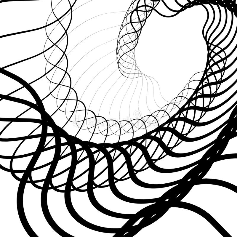 Abstract random squiggly, spirally lines. Swirling, rotating lin. Es artistic graphic - Royalty free vector illustration royalty free illustration