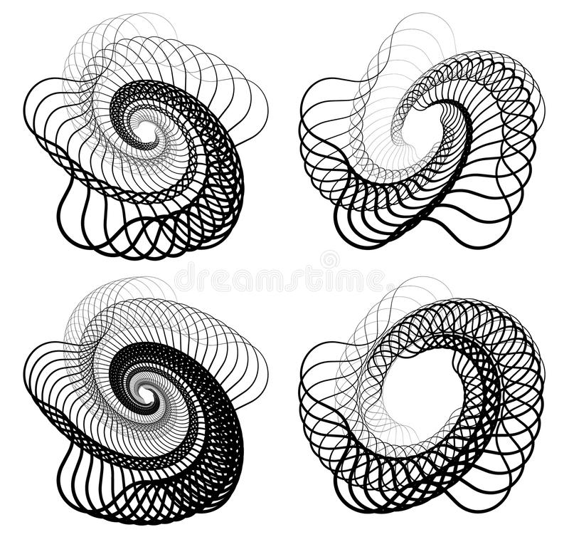 Abstract random squiggly, spirally lines. Swirling, rotating lin. Es artistic graphic - Royalty free vector illustration vector illustration