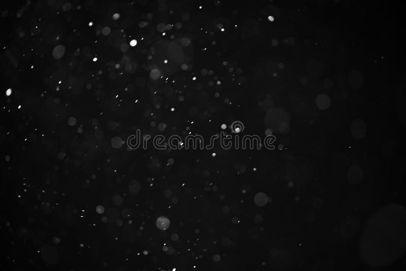 Abstract real dust floating over black background for overlay. Shallow focus royalty free stock images