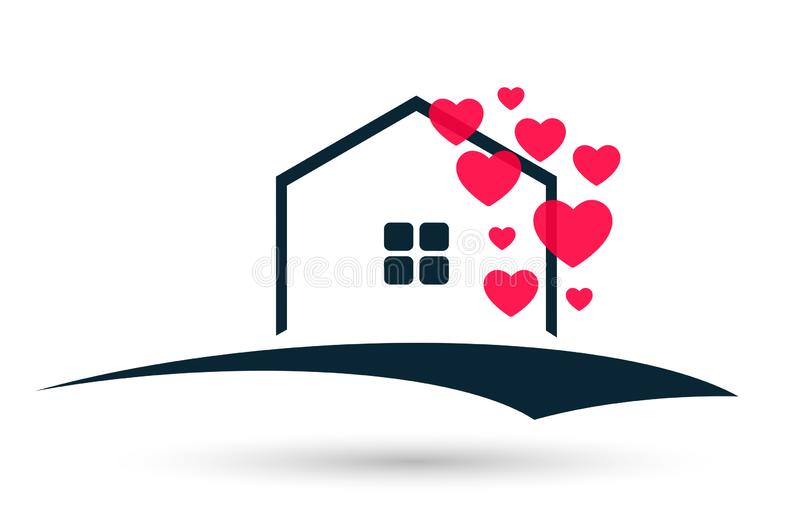 Abstract real estate hearts love wedding House roof and home logo vector element icon design vector on white background vector illustration
