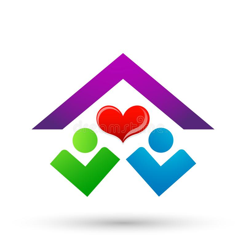 Abstract real estate people save House roof and hand taking care home logo vector element icon design vector on white background royalty free illustration