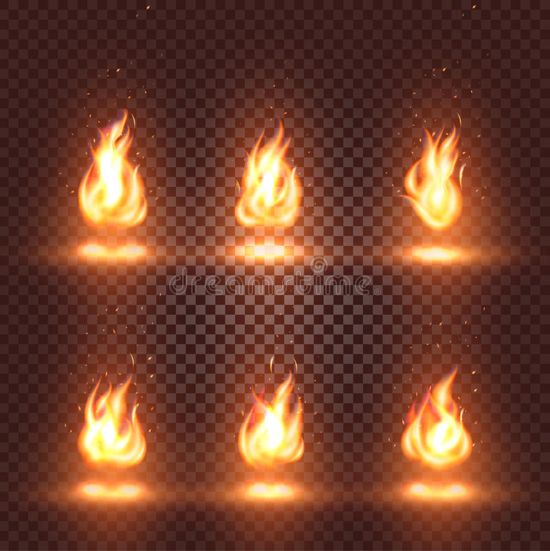 Abstract realistic fire flame images set on checkered background, bonfire signs collection on dark backdrop. Vector illustration royalty free illustration