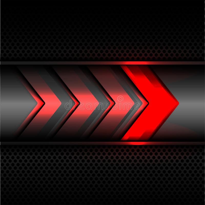 Abstract red arrow power light technology on dark gray metal circle mesh design modern futuristic background texture vector. Abstract red arrow power light vector illustration