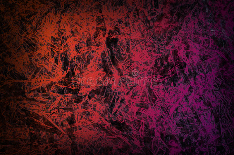 abstract red background or dark paper with bright center spotlight and black vignette border of light red graphic art stock illustration