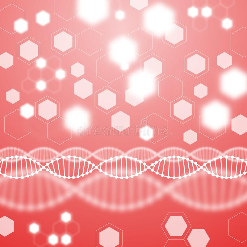 Abstract red background, DNA molecule. stock illustration