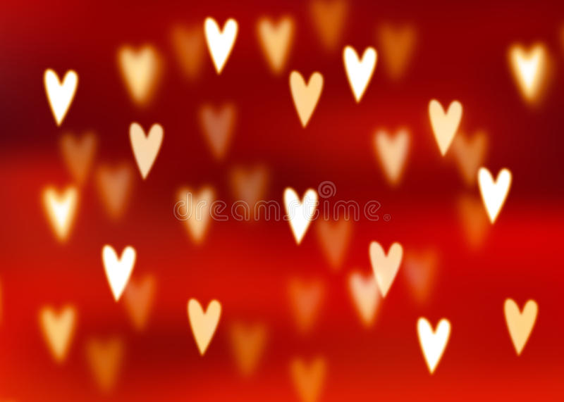 Abstract red background with golden heart shaped bokeh lights stock illustration