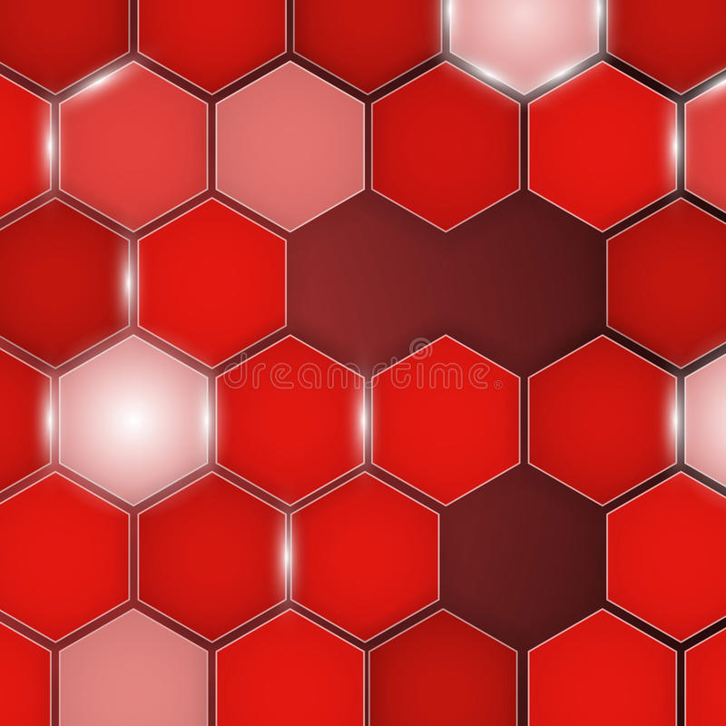 Abstract red background hexagon. Vector royalty free illustration