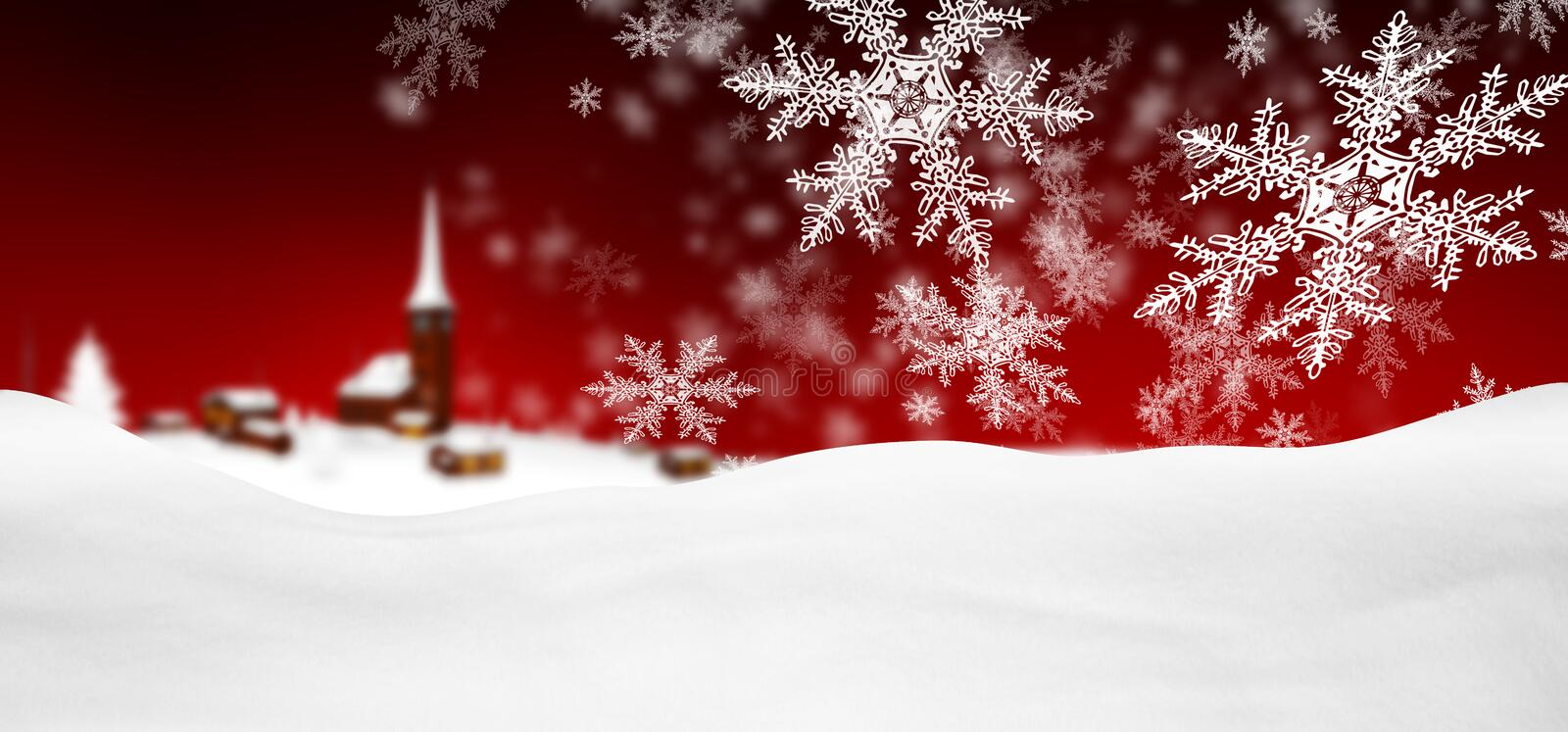 Abstract Red Background Panorama Winter Landscape with Falling S royalty free illustration
