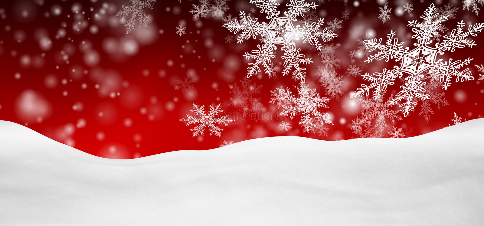 Abstract Red Background Panorama Winter Landscape with Falling Snowflakes stock photos