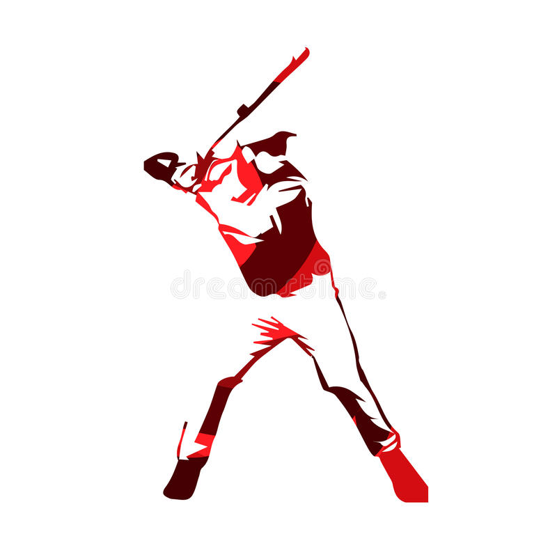 Abstract red baseball player, vector silhouette stock illustration