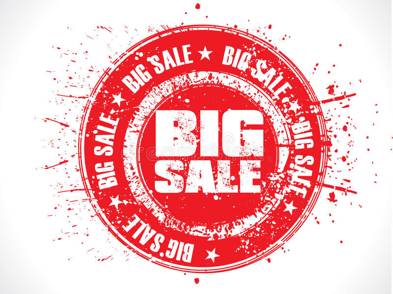 Abstract red big sale grunge stamp royalty free illustration