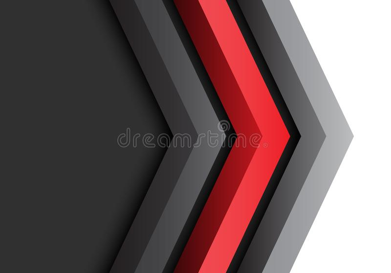Abstract red black grey arrow 3D direction with blank space design modern futuristic background vector. stock illustration