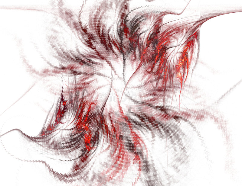 Abstract Red and Black Spiral on White stock illustration